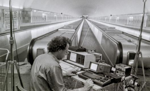 Max Neuhaus at Metro Montparnasse station, Paris, 1985. Ph. Florian Kleinefenn